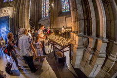 Service held in Central nave. COLOGNE, GERMANY- SEP 7, 2014: church service held in the cathedral in Cologne, Germany. The dome is Germanys most visited landmark royalty free stock photo