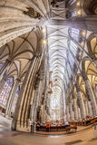 Service held in Central nave. COLOGNE, GERMANY- SEP 7, 2014: church service held in the cathedral in Cologne, Germany. The dome is Germanys most visited landmark stock image