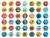 Service Hexagon Flat Longshadow Glyph Icon Set. Service glyph icon set. Style is flat hexagon buttons with long shadow stock image