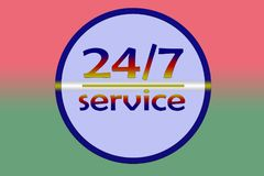 Service 24 hours per 7 days. Promotion sign for any service Stock Photography