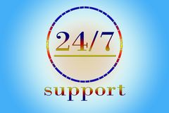 Support 24 hours per 7 days. Service 24 hours per 7 days - promotion sign for any service Stock Photos