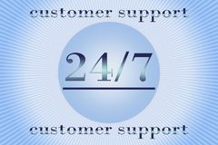 Support 24 hours per 7 days. Service 24 hours per 7 days - promotion sign for any service Stock Image