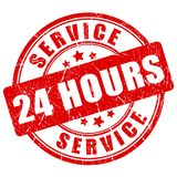 Service 24 hours vector stamp. Illustration isolated on white background Stock Photography