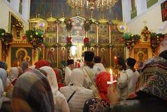 Service i den ortodoxa kyrkan bön Royaltyfria Foton