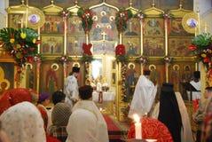 Service i den ortodoxa kyrkan vladivostok Royaltyfri Fotografi
