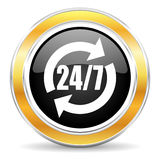 Service icon. Black web button with golden ring Stock Photography