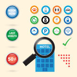 Service icon for booking hotel. Searching concept Stock Image