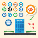 Service icon for booking hotel selection. Concept Stock Photo