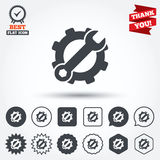 Service icon. Wrench key with gear sign Royalty Free Stock Photos