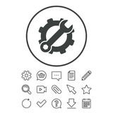 Service icon. Wrench key with gear sign. Royalty Free Stock Images