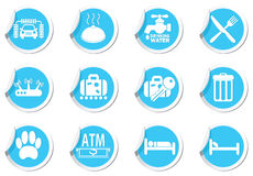 Service Icons on blue labels set Royalty Free Stock Images