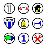 Service Icons in colors. Colored Services Icons in Vectors for internet Stock Photos