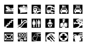 Service icons set black-white Royalty Free Stock Photo