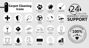 Service icons set. Carpet cleaning. Carpet cleaning, Service icons set, emblems for a business. Carpet cleaning. Vector icons set royalty free illustration