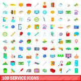 100 service icons set, cartoon style. 100 service icons set in cartoon style for any design vector illustration Royalty Free Stock Photography