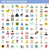 100 service icons set, flat style. 100 service icons set in flat style for any design illustration royalty free illustration