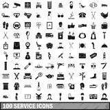 100 service icons set, simple style Stock Photos