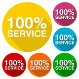 100% Service-Ikonen eingestellt mit langem Schatten Stockbild