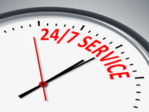 24 7 Service. An illustration of a clock with the message 24 7 Service Royalty Free Stock Image