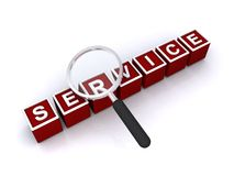Service illustration. An illustration of the word service made of blocks and a magnifying glass over Royalty Free Stock Photography