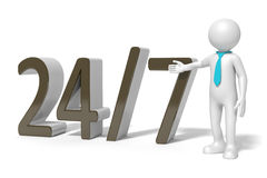 24 7 service. An image of a 24 hours on 7 days service Royalty Free Stock Photos