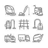 Service industriel de nettoyage Travailleur Épurateur de vide Machines de balayeuse Ligne mince ensemble d'icône Illustration de