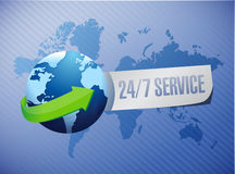 24-7 service international sign concept Stock Photography