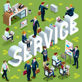 Service Isometric People 3D Set Vector Illustration Stock Photos