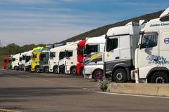 Service l'Aire de repos, Besançon Champoux de station, de l'autoroute A36 en France images libres de droits