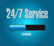 24-7 Service-Ladenstangen-Zeichenkonzept Stockfoto