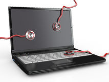 Service for laptop repair. Laptop and stethoscope Stock Photos