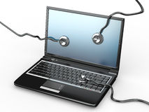 Service for laptop repair. Laptop and stethoscope Stock Image