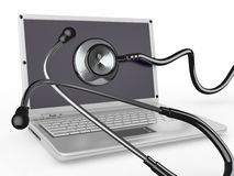 Service for laptop repair. Laptop with stethoscope Royalty Free Stock Photography