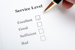 Service level. Service and quality level survey with checkbox Royalty Free Stock Photo