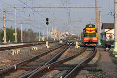 The service locomotive is staying. The service locomotiveis staying near Lukhovitsy station (moscower region Stock Images
