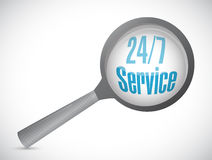 24-7 service magnify sign concept. Illustration design icon graphic Royalty Free Stock Photos