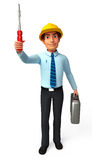 Service Man is with screw driver Stock Image