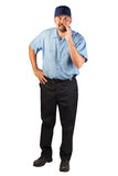 Service Man Telling a Secret. Royalty Free Stock Photo