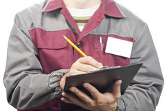 Service Man With Clipboard Stock Images