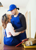 Service man and woman having flirt Royalty Free Stock Photo