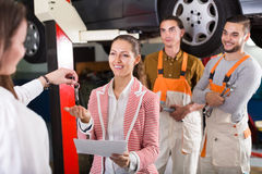 Service manager and crew Stock Image
