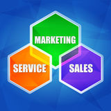 Service, marketing, sales in hexagons, flat design. Service, marketing, sales - business concept words in color hexagons over blue background, flat design Stock Image