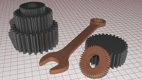 Service - Mechanics - Gears. Some gears and a wrench on a measuring plane stock illustration