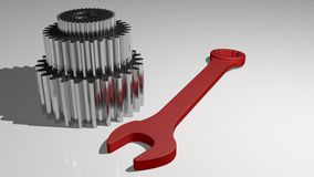Service - Mechanics - Gears. Three metallic gears and a red wrench on a white plane vector illustration