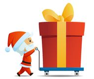 Service men santa with cart and big gift box Royalty Free Stock Photos