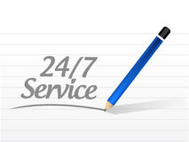 24-7 service message sign concept. Illustration design icon graphic Royalty Free Stock Images