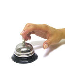 Service Now. A photo of a woman ringing a service bell Royalty Free Stock Image
