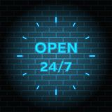 24 7 Service open 24h hours a day and 7 days a week. Flat isolated vector illustration in black. On a white background Royalty Free Stock Photos