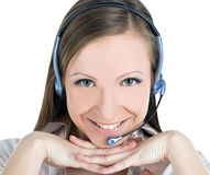 Service operator woman with headset Stock Photos