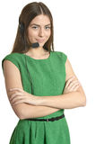 Service operator woman with headset Royalty Free Stock Photo